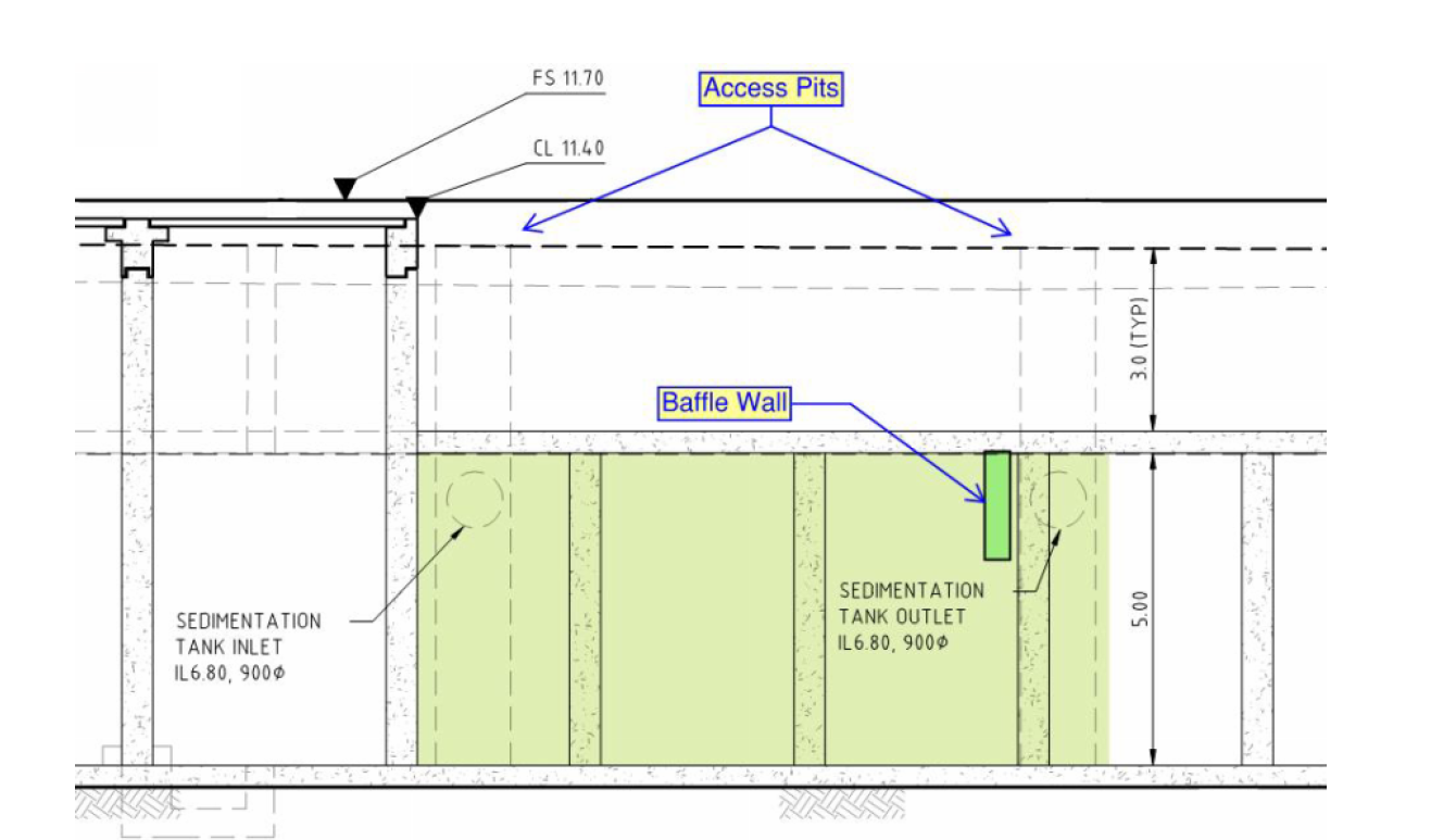 Section drawing of the sedimentation chamber