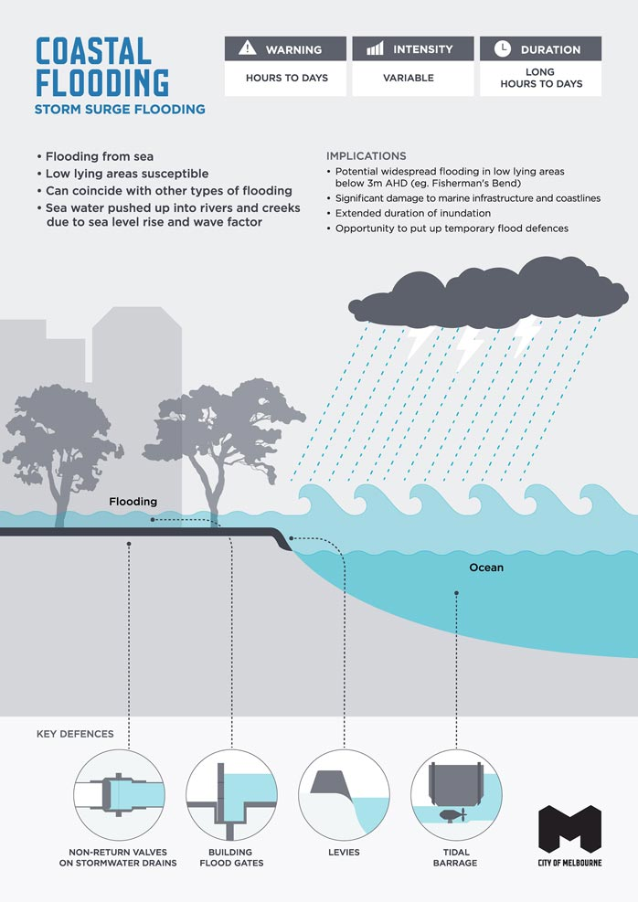 Infographic illustrating characteristics, implications and key defences of coastal / storm surge flooding