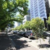 Permeable asphalt allows runoff to soak through to the new median trees